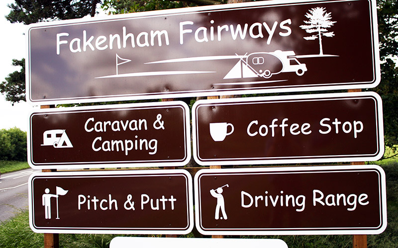 Sign for Fakenham Fairways.